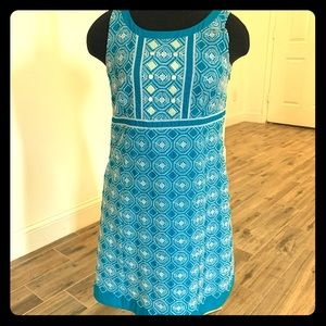 Tahari blue with white embroidery dress